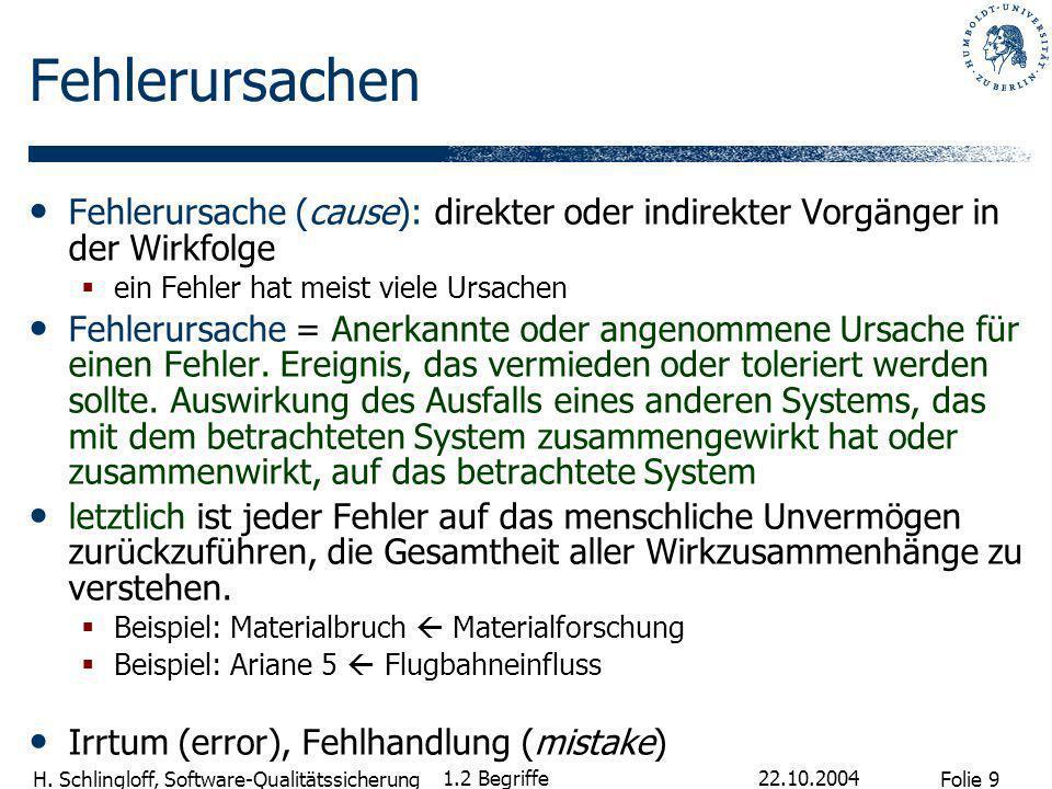 Folie 9 H. Schlingloff, Software-Qualitätssicherung 22.10.2004 1.2 Begriffe Fehlerursachen Fehlerursache (cause): direkter oder indirekter Vorgänger i