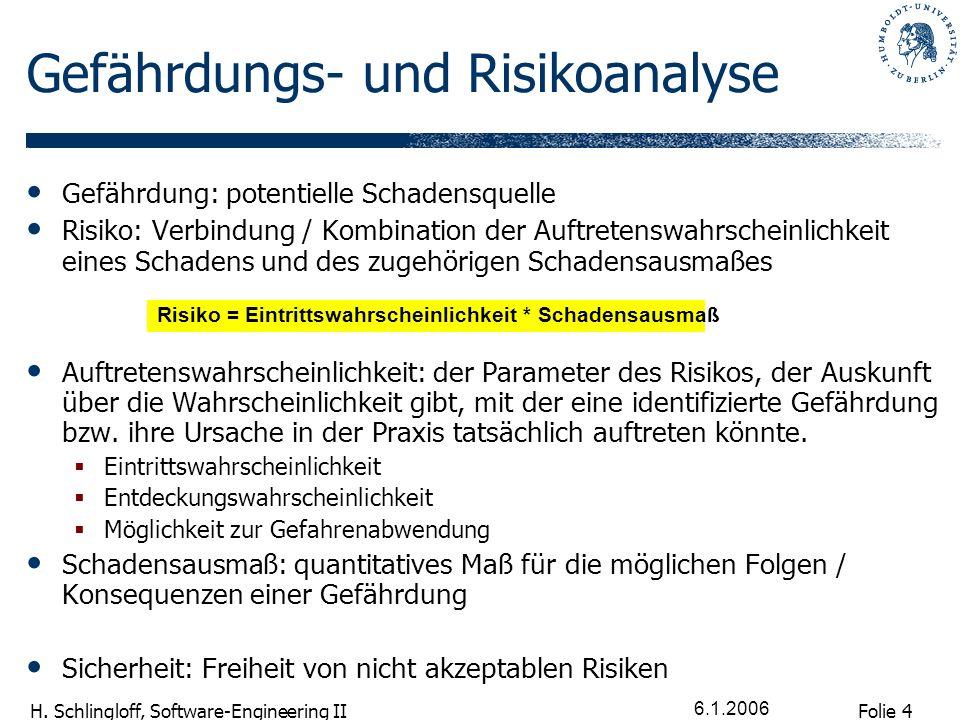 Folie 5 H. Schlingloff, Software-Engineering II 6.1.2006 IEC 61508 Prozess
