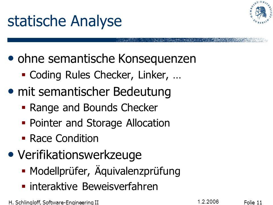 Folie 11 H. Schlingloff, Software-Engineering II 1.2.2006 statische Analyse ohne semantische Konsequenzen Coding Rules Checker, Linker, … mit semantis
