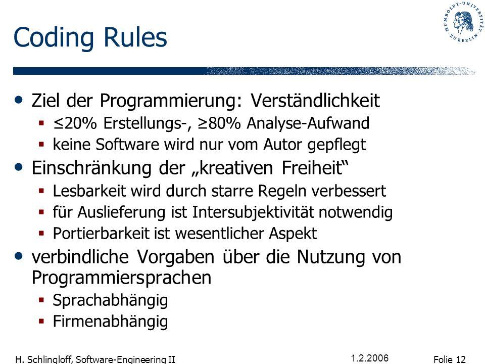 Folie 12 H. Schlingloff, Software-Engineering II 1.2.2006 Coding Rules Ziel der Programmierung: Verständlichkeit 20% Erstellungs-, 80% Analyse-Aufwand
