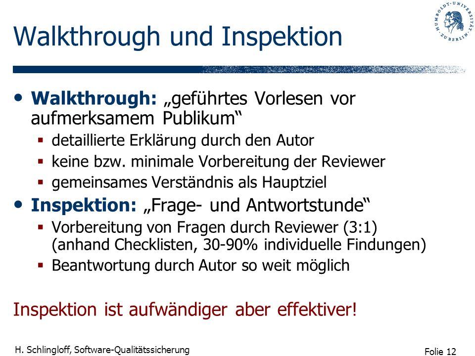Folie 12 H. Schlingloff, Software-Qualitätssicherung Walkthrough und Inspektion Walkthrough: geführtes Vorlesen vor aufmerksamem Publikum detaillierte