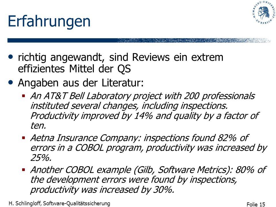 Folie 15 H. Schlingloff, Software-Qualitätssicherung Erfahrungen richtig angewandt, sind Reviews ein extrem effizientes Mittel der QS Angaben aus der