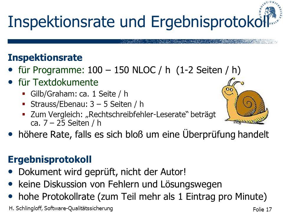 Folie 17 H. Schlingloff, Software-Qualitätssicherung Inspektionsrate und Ergebnisprotokoll Inspektionsrate für Programme: 100 – 150 NLOC / h (1-2 Seit