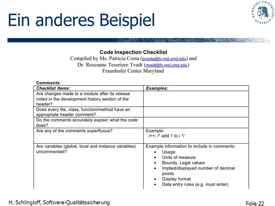 Folie 23 H. Schlingloff, Software-Qualitätssicherung Protokollschema
