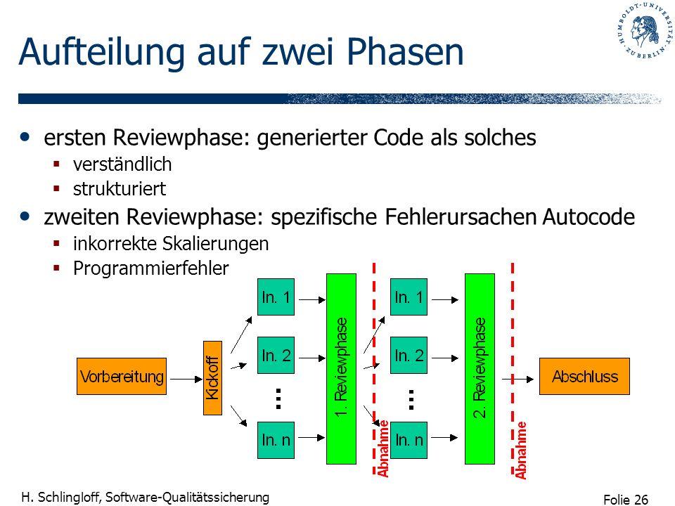 Folie 26 H. Schlingloff, Software-Qualitätssicherung Aufteilung auf zwei Phasen ersten Reviewphase: generierter Code als solches verständlich struktur