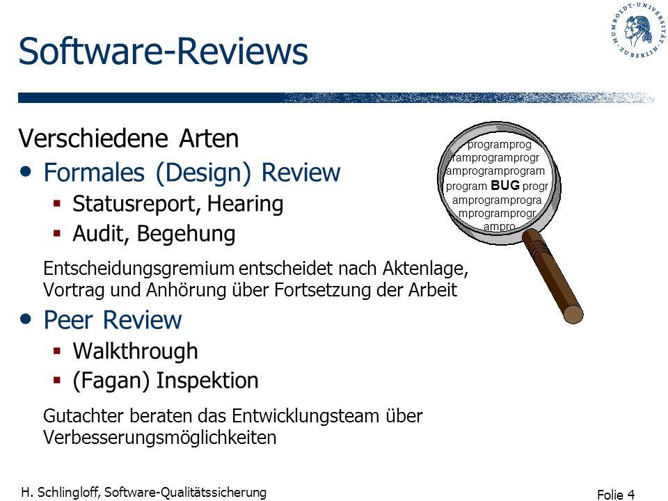 Folie 4 H. Schlingloff, Software-Qualitätssicherung Software-Reviews Verschiedene Arten Formales (Design) Review Statusreport, Hearing Audit, Begehung