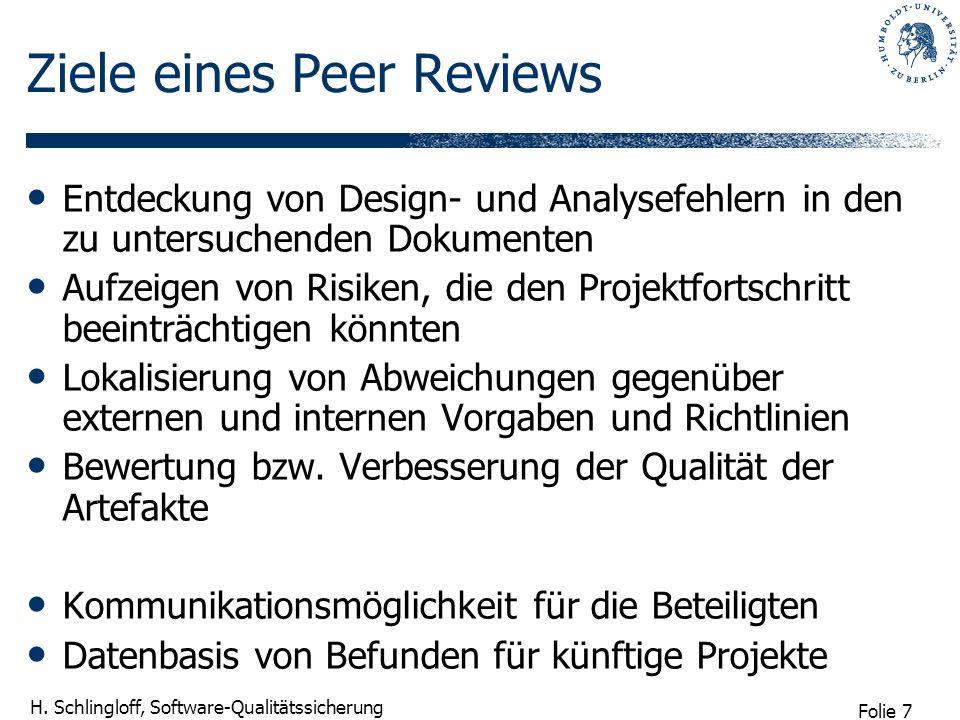 Folie 7 H. Schlingloff, Software-Qualitätssicherung Ziele eines Peer Reviews Entdeckung von Design- und Analysefehlern in den zu untersuchenden Dokume
