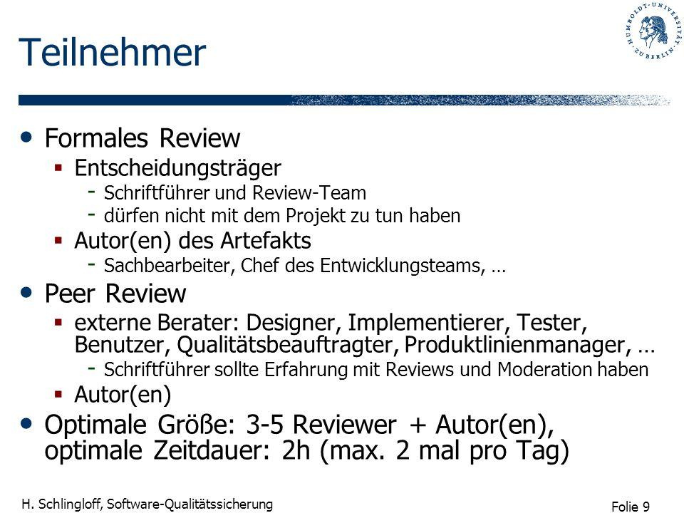 Folie 9 H. Schlingloff, Software-Qualitätssicherung Teilnehmer Formales Review Entscheidungsträger - Schriftführer und Review-Team - dürfen nicht mit