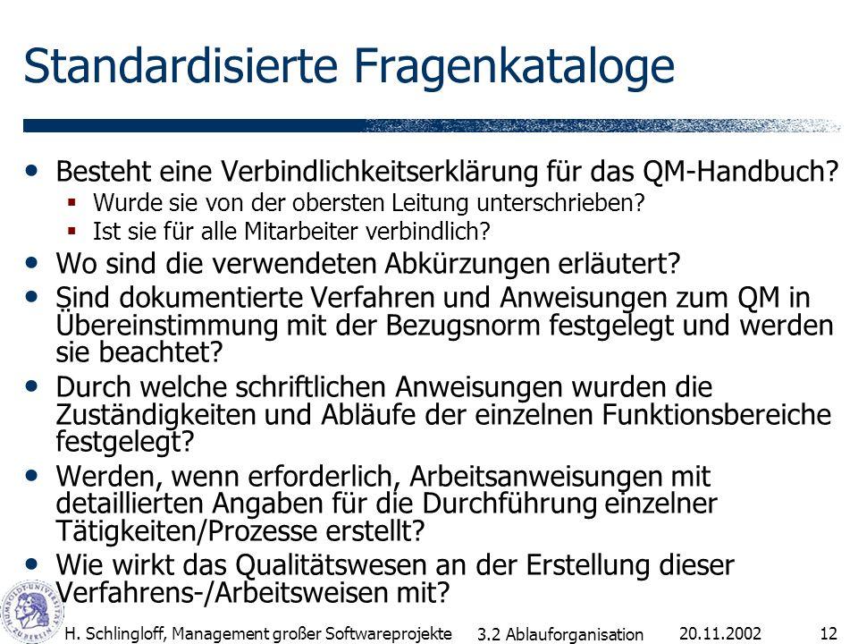 20.11.2002H. Schlingloff, Management großer Softwareprojekte12 Standardisierte Fragenkataloge Besteht eine Verbindlichkeitserklärung für das QM-Handbu