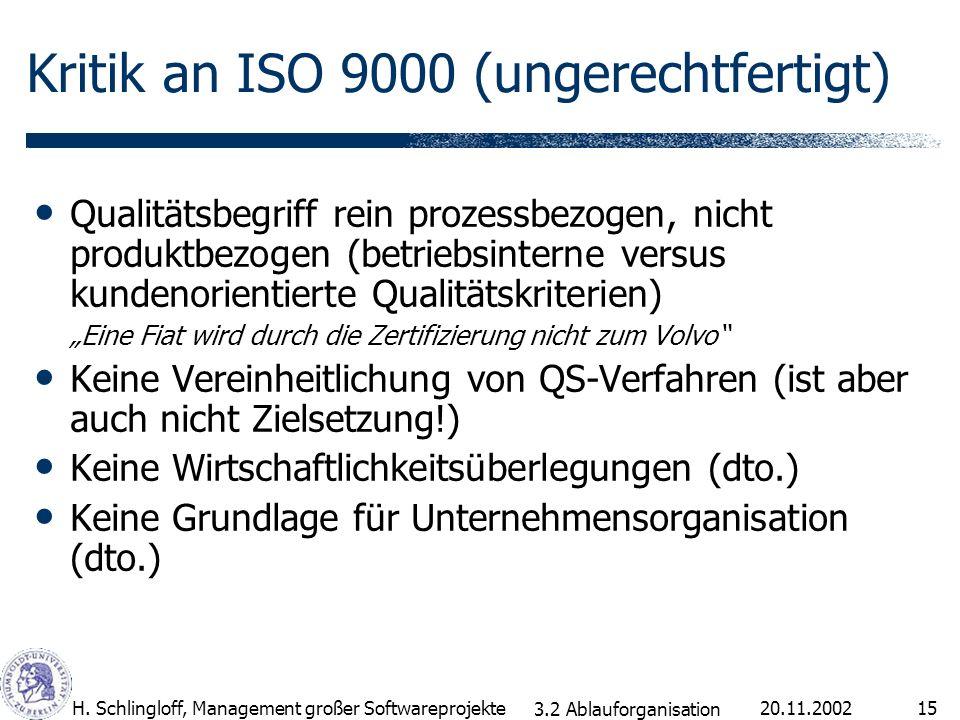20.11.2002H. Schlingloff, Management großer Softwareprojekte15 Kritik an ISO 9000 (ungerechtfertigt) Qualitätsbegriff rein prozessbezogen, nicht produ