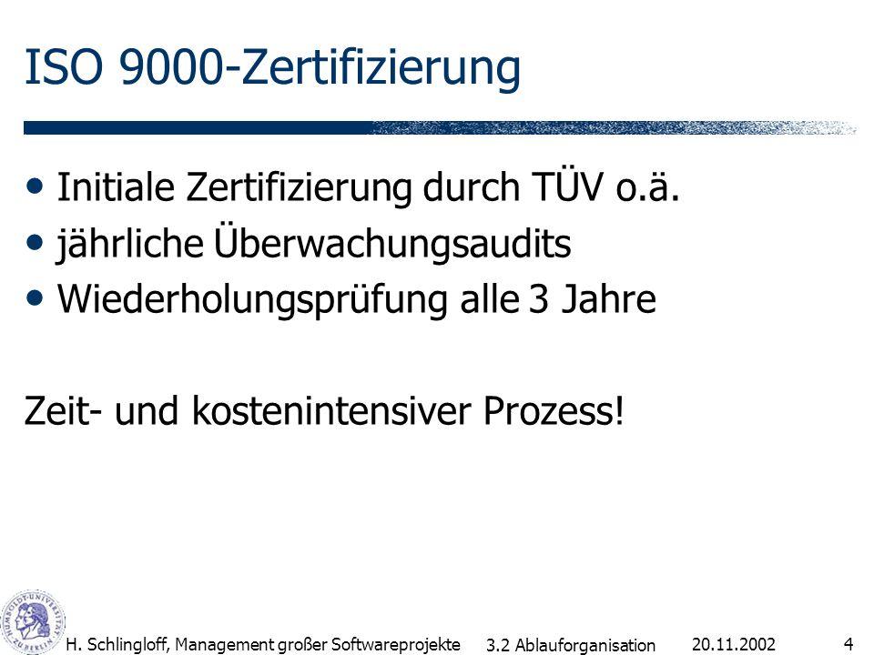 20.11.2002H. Schlingloff, Management großer Softwareprojekte4 ISO 9000-Zertifizierung Initiale Zertifizierung durch TÜV o.ä. jährliche Überwachungsaud