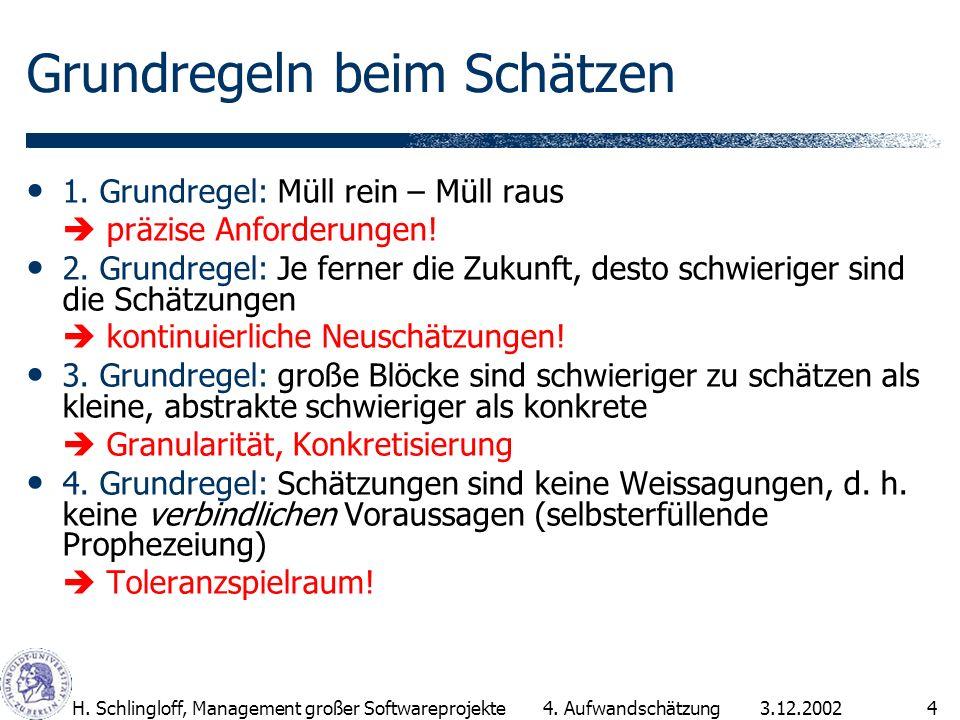 3.12.2002H.Schlingloff, Management großer Softwareprojekte4 Grundregeln beim Schätzen 1.