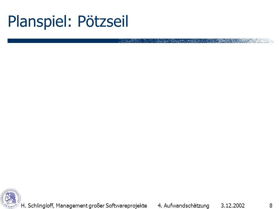 3.12.2002H.Schlingloff, Management großer Softwareprojekte8 Planspiel: Pötzseil 4.