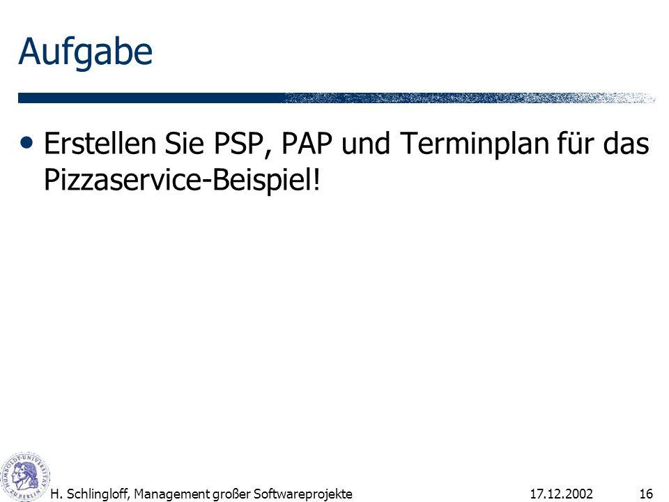17.12.2002H. Schlingloff, Management großer Softwareprojekte16 Aufgabe Erstellen Sie PSP, PAP und Terminplan für das Pizzaservice-Beispiel!