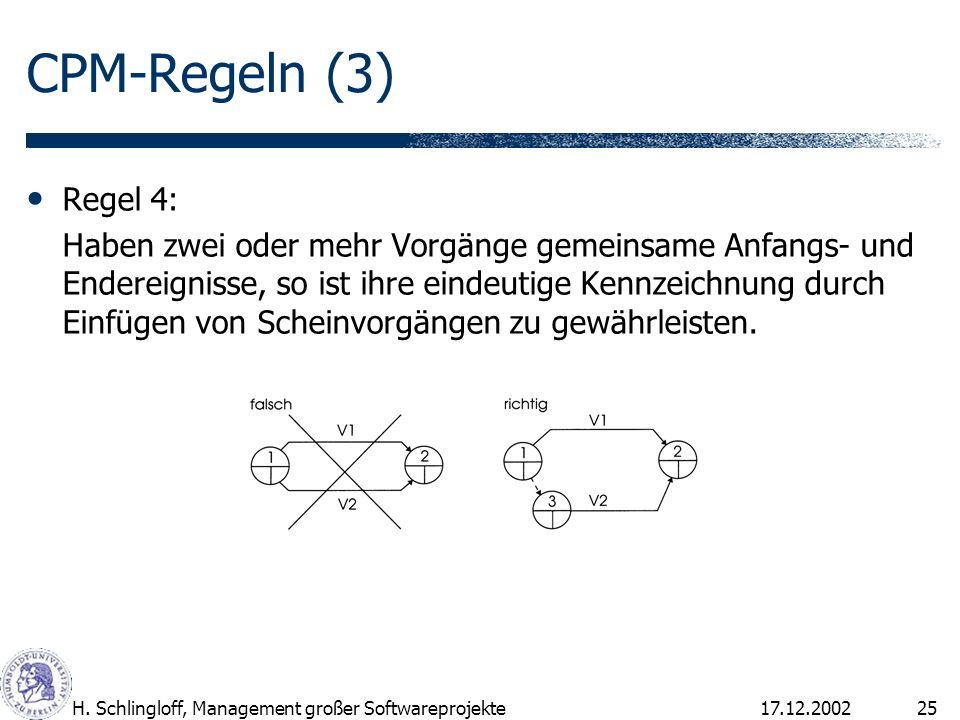 17.12.2002H. Schlingloff, Management großer Softwareprojekte25 CPM-Regeln (3) Regel 4: Haben zwei oder mehr Vorgänge gemeinsame Anfangs- und Endereign