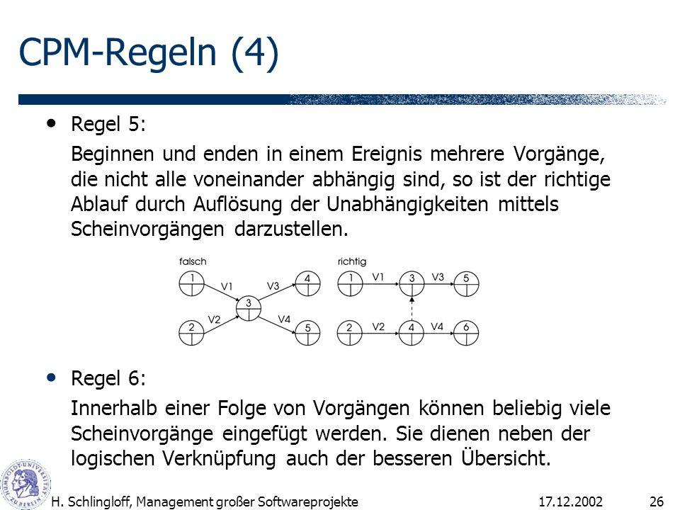 17.12.2002H. Schlingloff, Management großer Softwareprojekte26 Regel 5: Beginnen und enden in einem Ereignis mehrere Vorgänge, die nicht alle voneinan