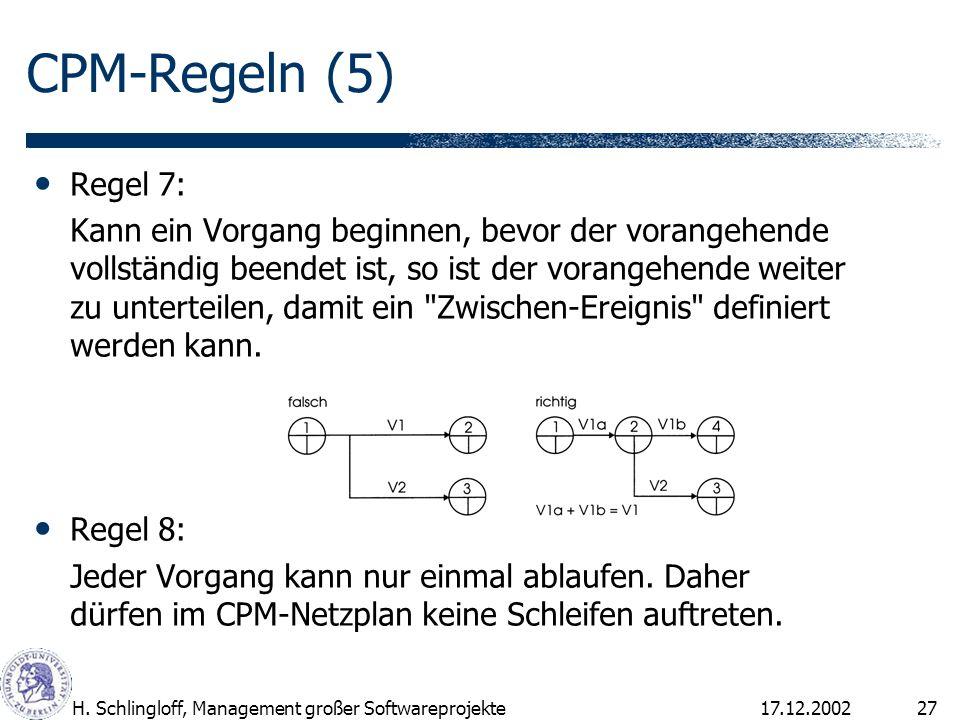 17.12.2002H. Schlingloff, Management großer Softwareprojekte27 Regel 7: Kann ein Vorgang beginnen, bevor der vorangehende vollständig beendet ist, so
