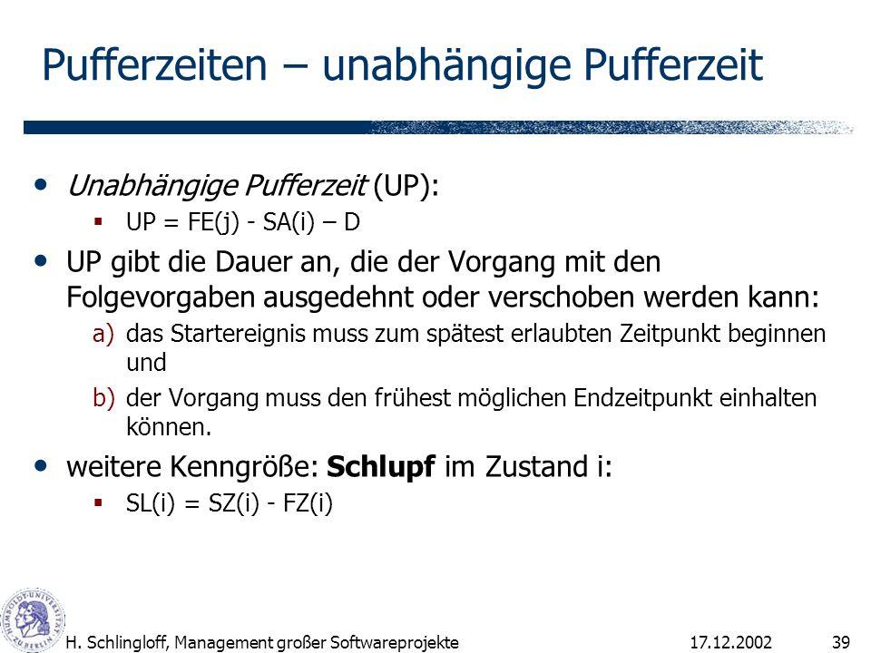 17.12.2002H. Schlingloff, Management großer Softwareprojekte39 Unabhängige Pufferzeit (UP): UP = FE(j) - SA(i) – D UP gibt die Dauer an, die der Vorga