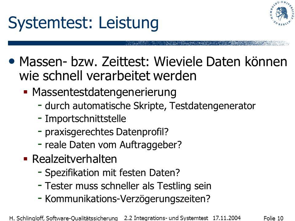 Folie 10 H. Schlingloff, Software-Qualitätssicherung 17.11.2004 2.2 Integrations- und Systemtest Systemtest: Leistung Massen- bzw. Zeittest: Wieviele