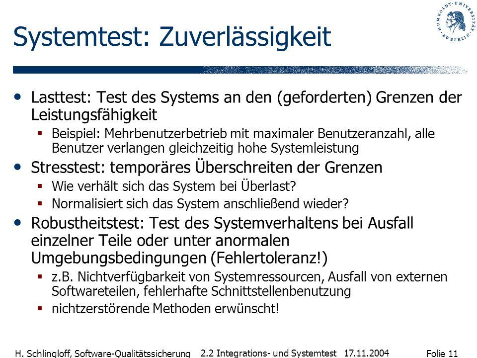 Folie 11 H. Schlingloff, Software-Qualitätssicherung 17.11.2004 2.2 Integrations- und Systemtest Systemtest: Zuverlässigkeit Lasttest: Test des System