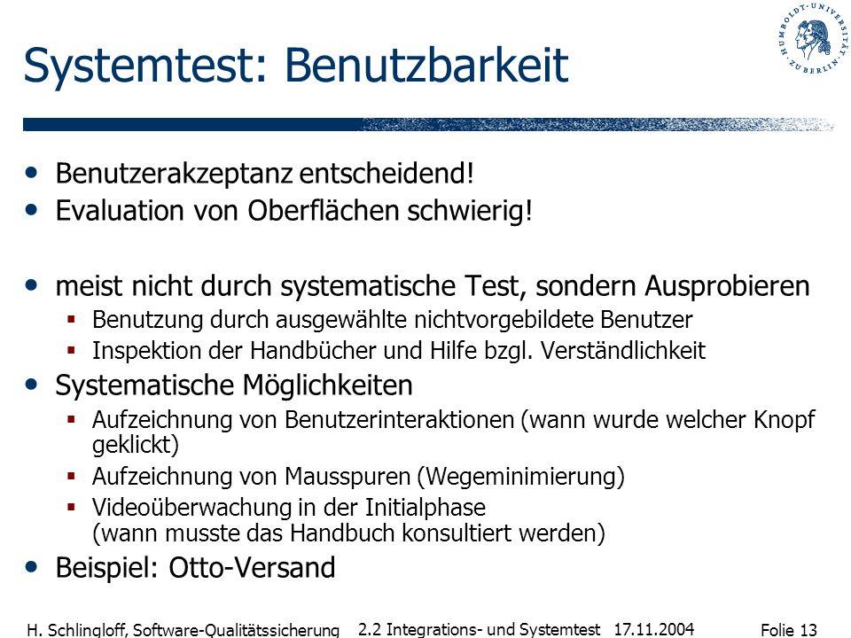 Folie 13 H. Schlingloff, Software-Qualitätssicherung 17.11.2004 2.2 Integrations- und Systemtest Systemtest: Benutzbarkeit Benutzerakzeptanz entscheid