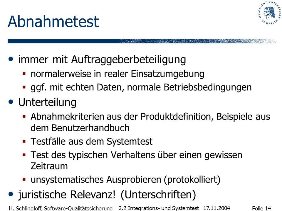 Folie 14 H. Schlingloff, Software-Qualitätssicherung 17.11.2004 2.2 Integrations- und Systemtest Abnahmetest immer mit Auftraggeberbeteiligung normale