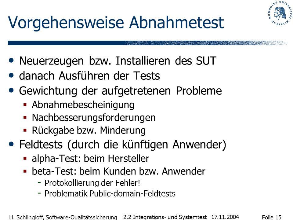 Folie 15 H. Schlingloff, Software-Qualitätssicherung 17.11.2004 2.2 Integrations- und Systemtest Vorgehensweise Abnahmetest Neuerzeugen bzw. Installie