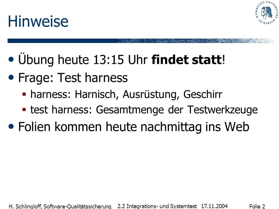 Folie 2 H. Schlingloff, Software-Qualitätssicherung 17.11.2004 2.2 Integrations- und Systemtest Hinweise Übung heute 13:15 Uhr findet statt! Frage: Te