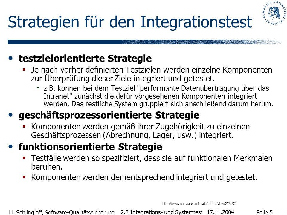 Folie 5 H. Schlingloff, Software-Qualitätssicherung 17.11.2004 2.2 Integrations- und Systemtest Strategien für den Integrationstest testzielorientiert