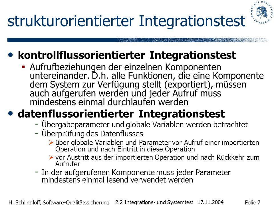 Folie 7 H. Schlingloff, Software-Qualitätssicherung 17.11.2004 2.2 Integrations- und Systemtest strukturorientierter Integrationstest kontrollflussori