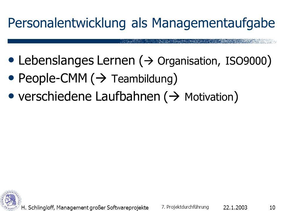22.1.2003H. Schlingloff, Management großer Softwareprojekte10 Personalentwicklung als Managementaufgabe Lebenslanges Lernen ( Organisation, ISO9000 )