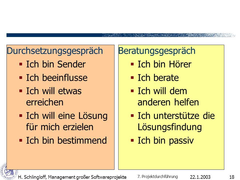 22.1.2003H. Schlingloff, Management großer Softwareprojekte18 Durchsetzungsgespräch Ich bin Sender Ich beeinflusse Ich will etwas erreichen Ich will e