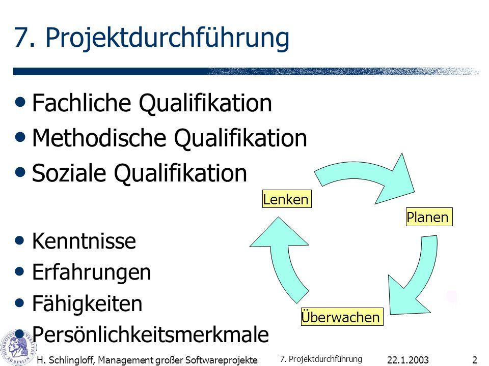 22.1.2003H. Schlingloff, Management großer Softwareprojekte2 7. Projektdurchführung Fachliche Qualifikation Methodische Qualifikation Soziale Qualifik