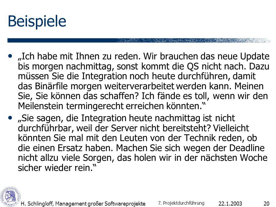 22.1.2003H. Schlingloff, Management großer Softwareprojekte20 Beispiele Ich habe mit Ihnen zu reden. Wir brauchen das neue Update bis morgen nachmitta