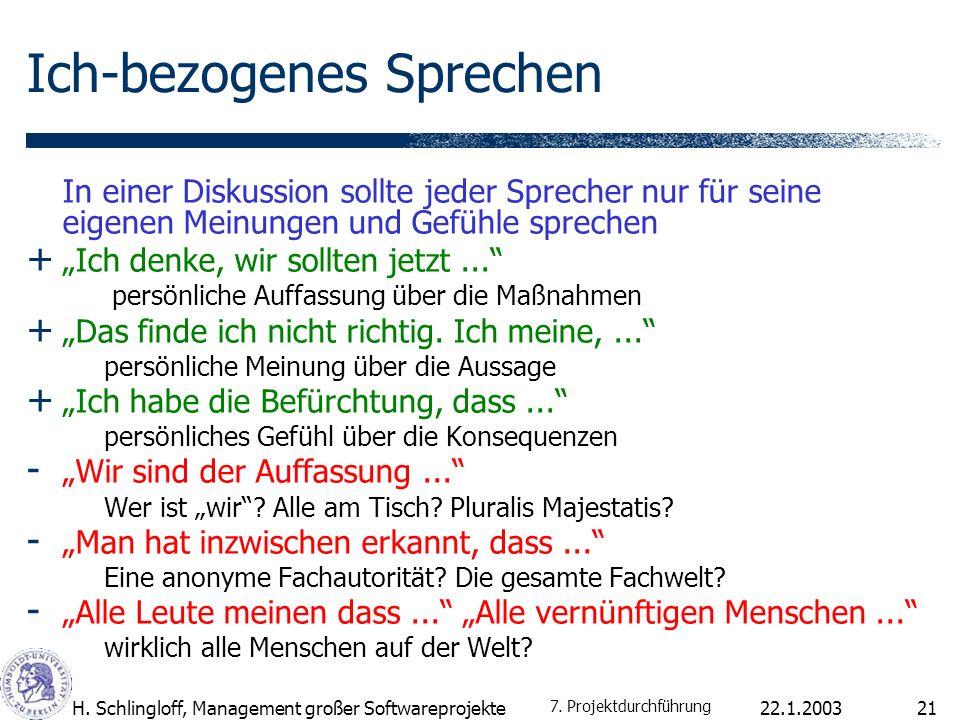 22.1.2003H. Schlingloff, Management großer Softwareprojekte21 Ich-bezogenes Sprechen In einer Diskussion sollte jeder Sprecher nur für seine eigenen M