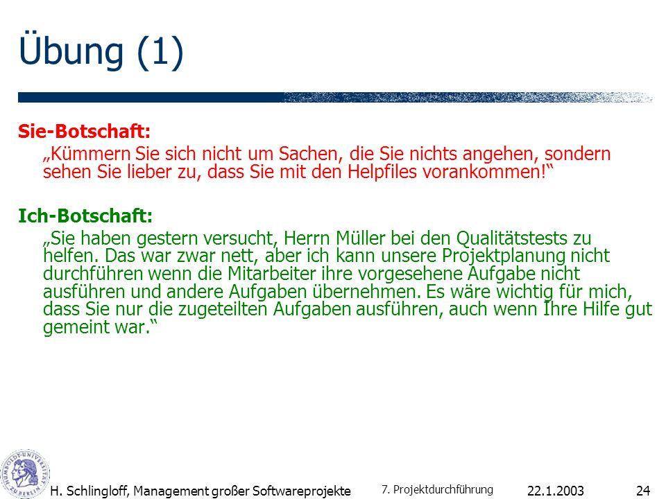 22.1.2003H. Schlingloff, Management großer Softwareprojekte24 Übung (1) Sie-Botschaft: Kümmern Sie sich nicht um Sachen, die Sie nichts angehen, sonde