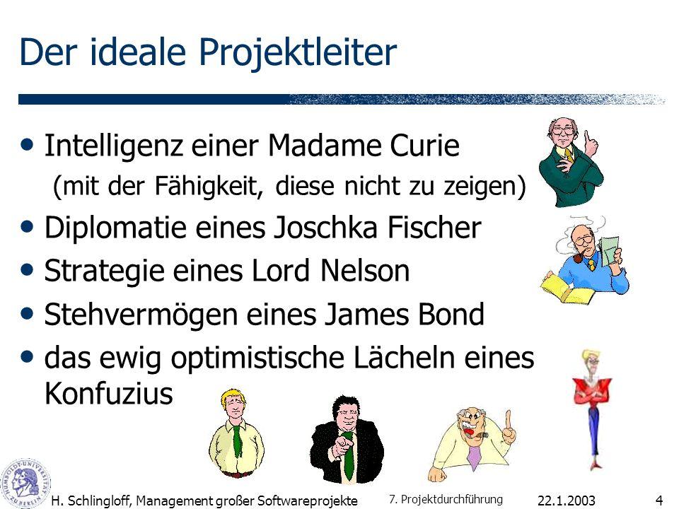 22.1.2003H. Schlingloff, Management großer Softwareprojekte4 Der ideale Projektleiter Intelligenz einer Madame Curie (mit der Fähigkeit, diese nicht z