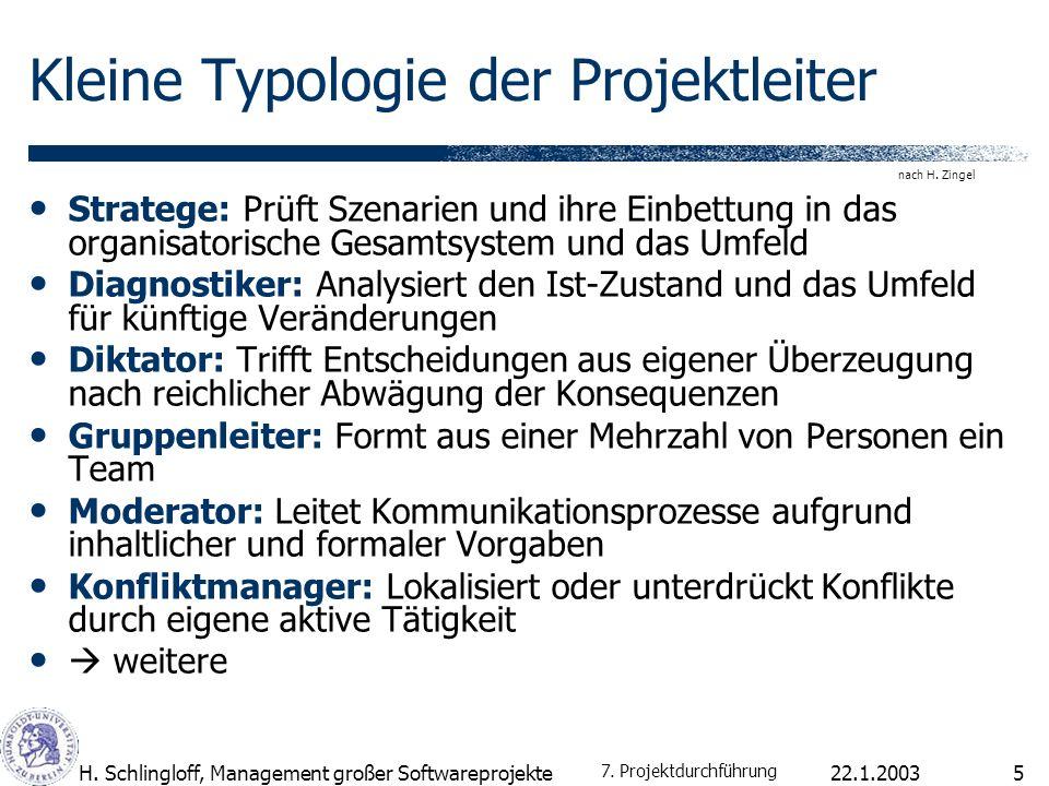 22.1.2003H. Schlingloff, Management großer Softwareprojekte5 Kleine Typologie der Projektleiter Stratege: Prüft Szenarien und ihre Einbettung in das o