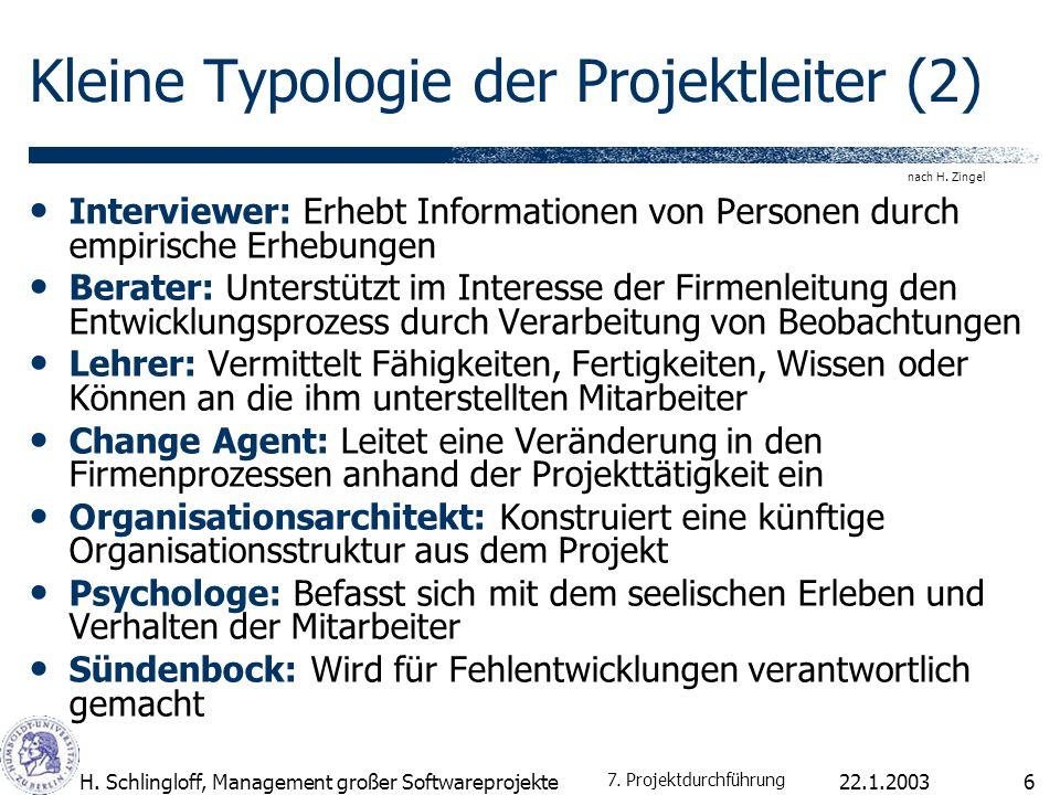 22.1.2003H. Schlingloff, Management großer Softwareprojekte6 Kleine Typologie der Projektleiter (2) Interviewer: Erhebt Informationen von Personen dur