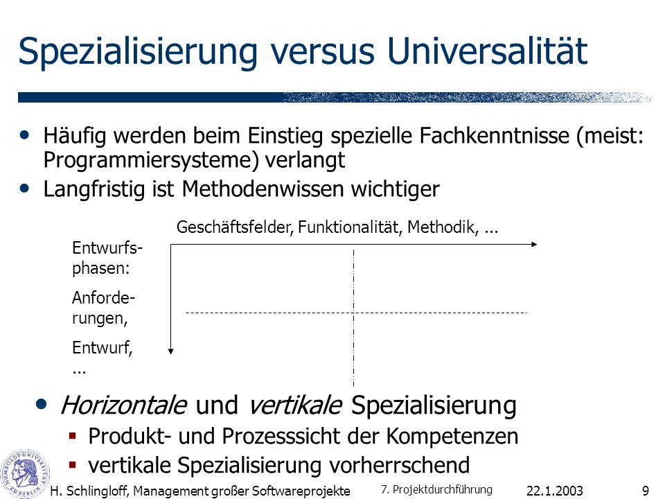 22.1.2003H. Schlingloff, Management großer Softwareprojekte9 Spezialisierung versus Universalität Häufig werden beim Einstieg spezielle Fachkenntnisse