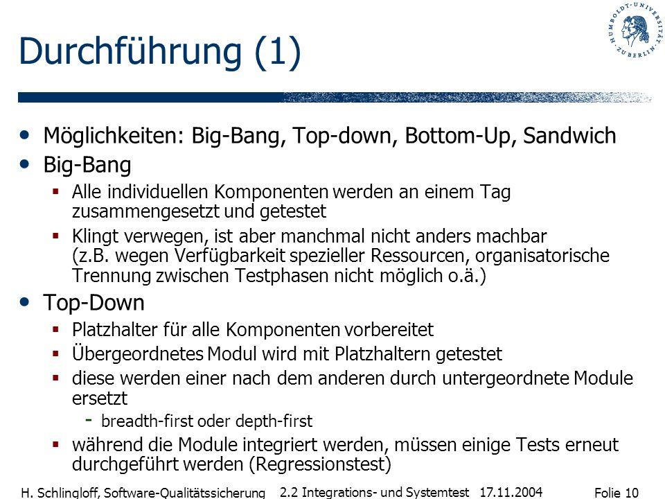 Folie 10 H. Schlingloff, Software-Qualitätssicherung 17.11.2004 2.2 Integrations- und Systemtest Durchführung (1) Möglichkeiten: Big-Bang, Top-down, B