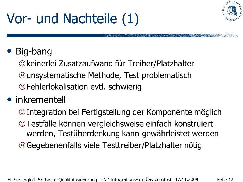 Folie 12 H. Schlingloff, Software-Qualitätssicherung 17.11.2004 2.2 Integrations- und Systemtest Vor- und Nachteile (1) Big-bang keinerlei Zusatzaufwa