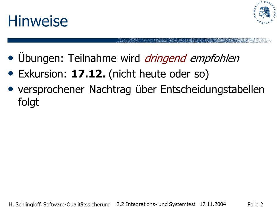 Folie 2 H. Schlingloff, Software-Qualitätssicherung 17.11.2004 2.2 Integrations- und Systemtest Hinweise Übungen: Teilnahme wird dringend empfohlen Ex