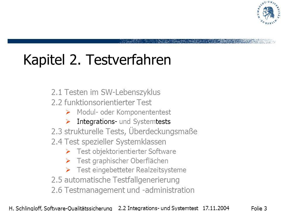 Folie 3 H. Schlingloff, Software-Qualitätssicherung 17.11.2004 2.2 Integrations- und Systemtest Kapitel 2. Testverfahren 2.1 Testen im SW-Lebenszyklus