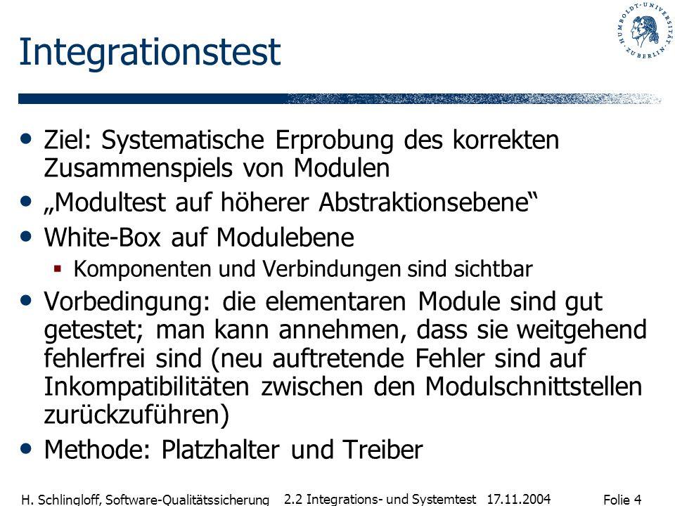 Folie 4 H. Schlingloff, Software-Qualitätssicherung 17.11.2004 2.2 Integrations- und Systemtest Integrationstest Ziel: Systematische Erprobung des kor