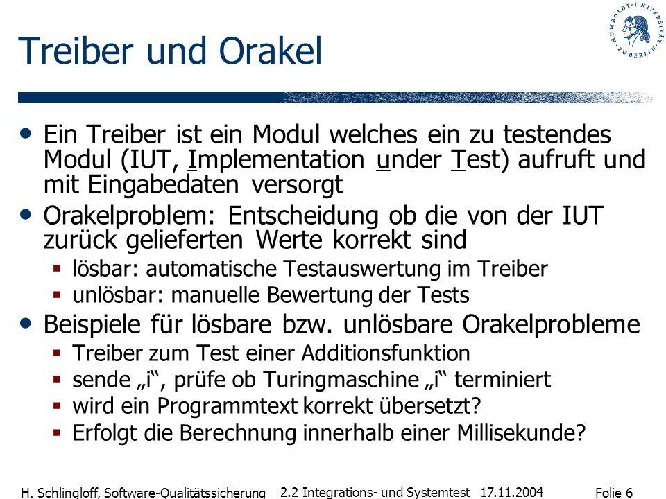 Folie 6 H. Schlingloff, Software-Qualitätssicherung 17.11.2004 2.2 Integrations- und Systemtest Treiber und Orakel Ein Treiber ist ein Modul welches e