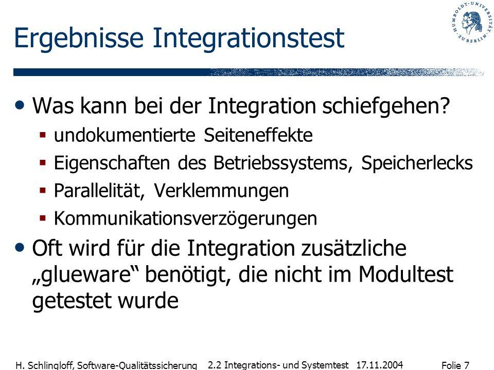 Folie 7 H. Schlingloff, Software-Qualitätssicherung 17.11.2004 2.2 Integrations- und Systemtest Ergebnisse Integrationstest Was kann bei der Integrati