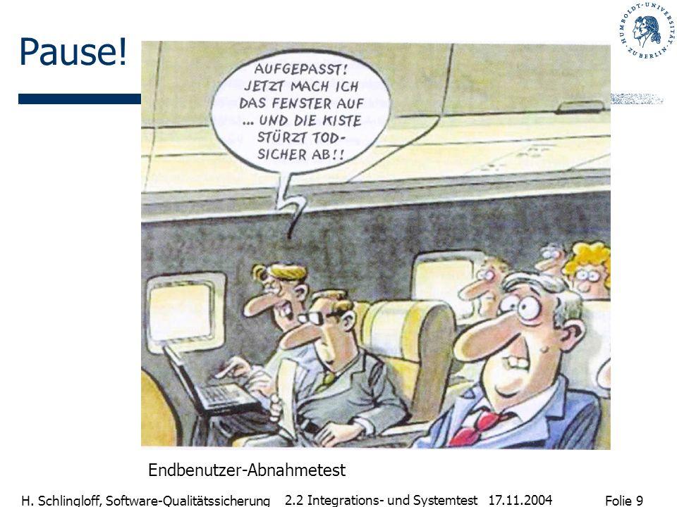 Folie 9 H. Schlingloff, Software-Qualitätssicherung 17.11.2004 2.2 Integrations- und Systemtest Pause! Endbenutzer-Abnahmetest