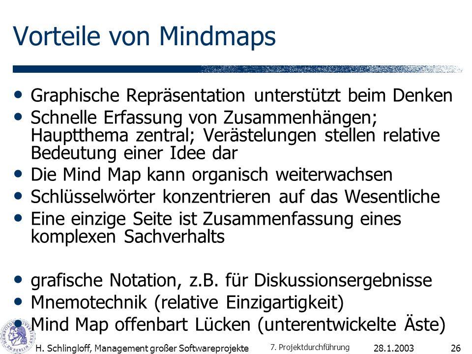 28.1.2003H.Schlingloff, Management großer Softwareprojekte27 Toolunterstützung 7.