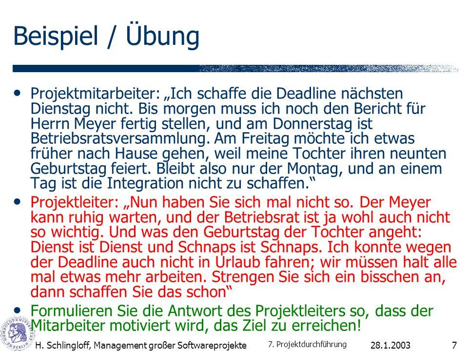 28.1.2003H.Schlingloff, Management großer Softwareprojekte8 Eliza Men are all alike.
